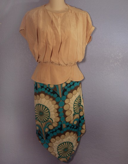 silk blouse and mod geometric skirt