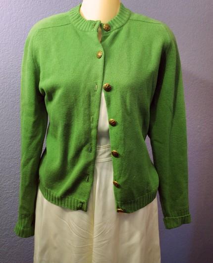 green cashmere cardigan