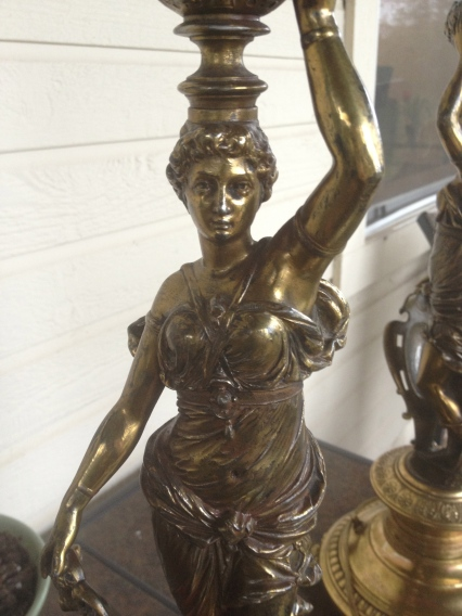 Figure lady lamp metal brass greek greco neoclassical